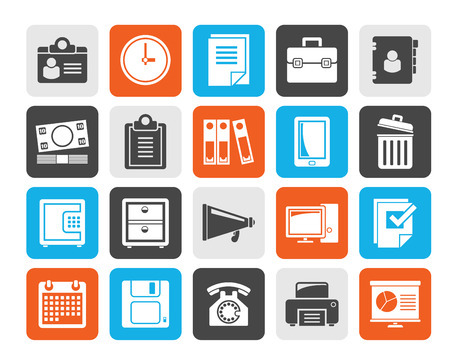 business supplies: Silhouette Business and office supplies icons - vector icon set