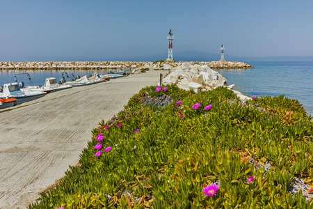 skala: Amazing Seascape with Spring flowers and pier in Skala Sotiros, Thassos island, East Macedonia and Thrace, Greece Editorial