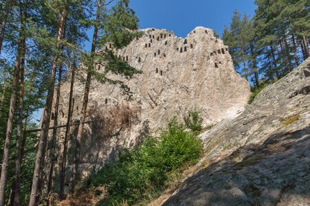 truncated: Amazing view of Thracian Sanctuary Eagle Rocks near town of Ardino, Kardzhali Region, Bulgaria