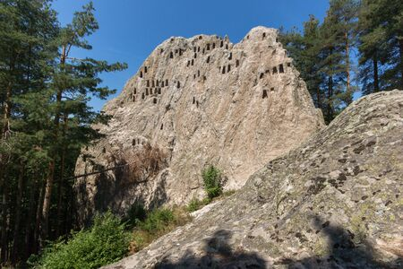truncated: Ruins of Thracian Sanctuary Eagle Rocks near town of Ardino, Kardzhali Region, Bulgaria Editorial