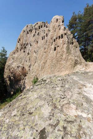 truncated: Panoramic view of Thracian Sanctuary Eagle Rocks near town of Ardino, Kardzhali Region, Bulgaria Editorial
