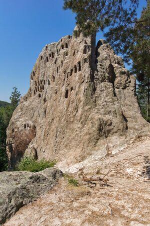 truncated: Thracian Sanctuary Eagle Rocks near town of Ardino in Rhodopes mountain, Kardzhali Region, Bulgaria