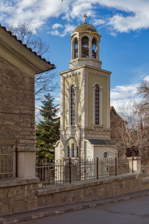 Bell tower of The Fish Church, St. Mary the Annunciation, Asenovgrad,  Plovdiv Region, Bulgaria Stock Photo