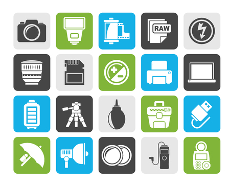 digicam: Silhouette Camera equipment and photography icons - Vector Icon Set Illustration