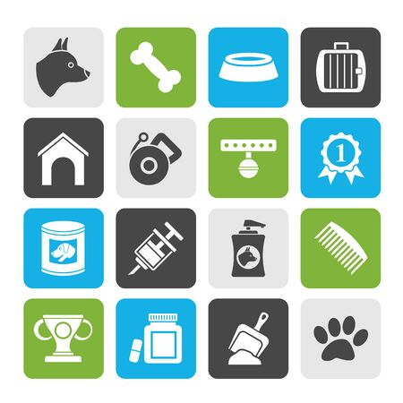 cynology: Silhouette Dog and Cynology object icons - vector icon set