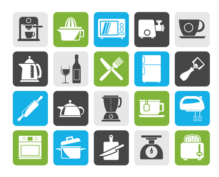 Silhouette Kitchenware objects and equipment icons - vector icon set Illustration