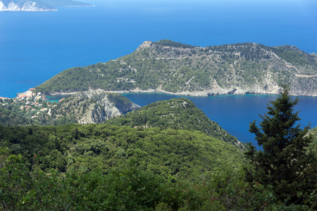 Amazing View of Assos village and beautiful sea bay, Kefalonia, Ionian islands, Greece