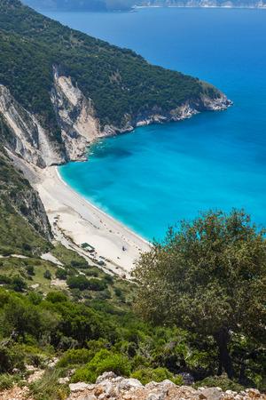 cefalonia: Panoramic View of beautiful Myrtos beach, Kefalonia, Ionian islands, Greece