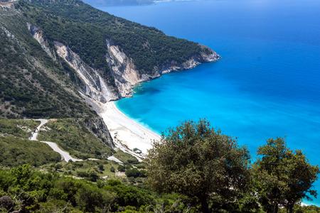 cefalonia: Panoramic View of beautiful Myrtos bay road to beach, Kefalonia, Ionian islands, Greece