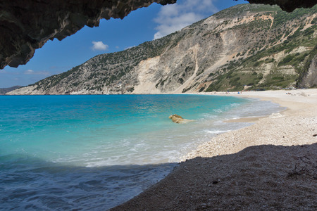 Blue water of beautiful Myrtos beach, Kefalonia, Ionian islands, Greece