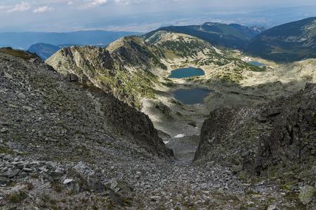 Amazing landscape to Musalenski lakes from Musala Peak, Rila mountain, Bulgaria
