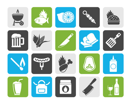 pinafore: Silhouette Grill and Barbecue Icons - vector icon set