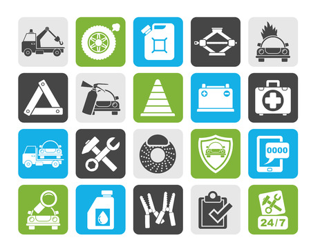 roadside assistance: Silhouette Roadside Assistance and tow  icons  - vector icon set Illustration