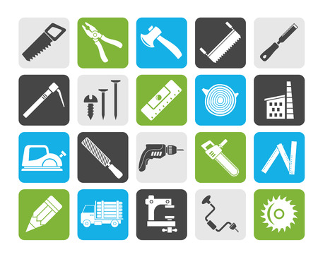 logging: Silhouette Carpentry, logging and woodworking icons - vector icon set