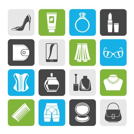Silhouette Weibliches Zubehör und Kleidung-Symbole-Vektor-Icon-Set