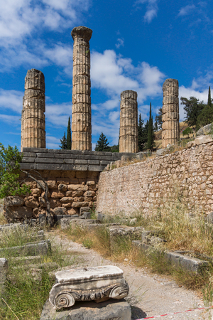 delphi: The Temple of Apollo in Ancient Greek archaeological site of Delphi, Central Greece