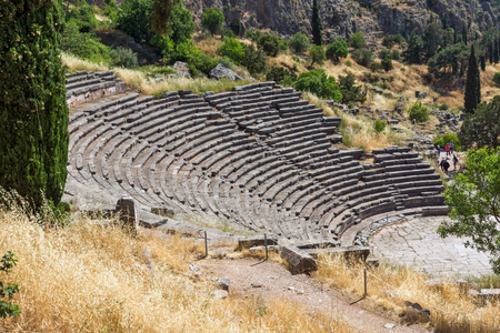 Amphitheater in Ancient Greek archaeological site of Delphi, Central Greece