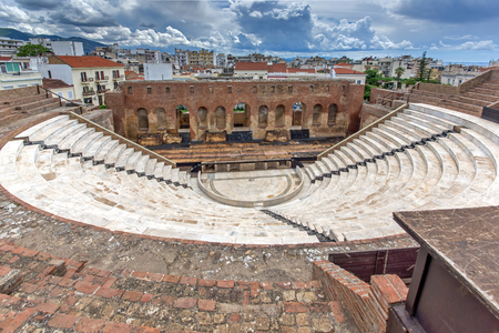 Panoramic view of Amphitheater in Roman Odeon, Patras, Peloponnese, Western Greece Stock Photo