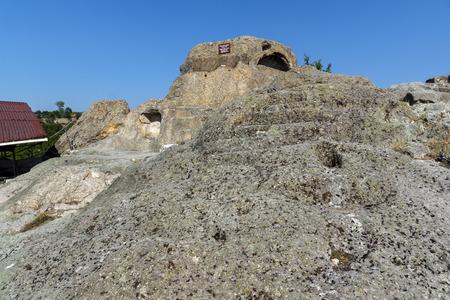 truncated: Panorama around Tomb of Orpheus in Antique Thracian sanctuary Tatul, Kardzhali Region, Bulgaria Stock Photo