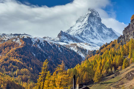 valais: Autumn Landscape of Mount Matterhorn, Canton of Valais, Switzerland Stock Photo