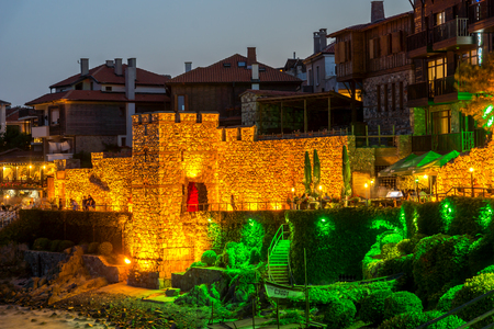 reconstructed: Night photo of reconstructed gate part of Sozopol ancient fortifications, Bulgaria Editorial