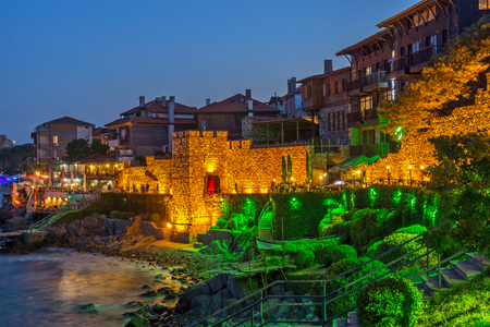 reconstructed: Amazing Night photo of reconstructed gate part of Sozopol ancient fortifications, Bulgaria