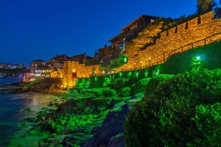 fortifications: Night photo of ruins of reconstructed gate part of Sozopol ancient fortifications, Bulgaria Editorial