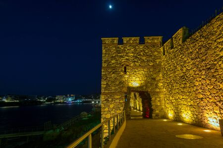 fortifications: Night photo of ruins of Sozopol ancient fortifications, Burgas Region, Bulgaria
