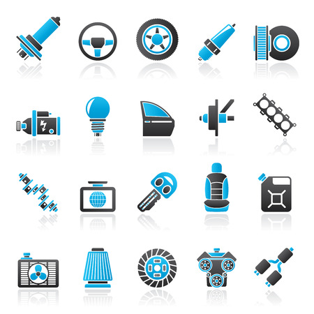 spark plug: Car part and services icons  1 - vector icon set