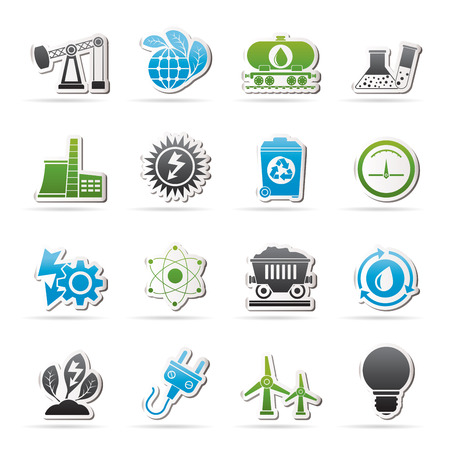 energy production: power and energy production icons - vector icon set