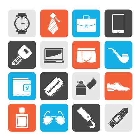 dress code: Male accessories and clothes icons- vector icon set Illustration