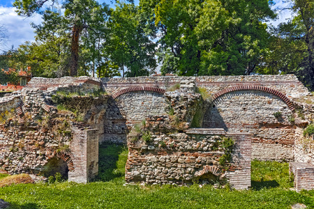 Ruins of the builings in the ancient Roman city of Diokletianopolis, town of Hisarya, Plovdiv Region, Bulgaria Stock Photo