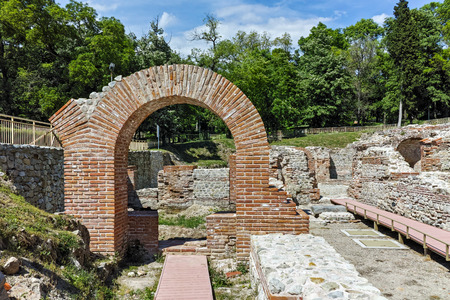 Ruins of entrance of roman bath in ancient Diocletianopolis, town of Hisarya, Plovdiv Region, Bulgaria
