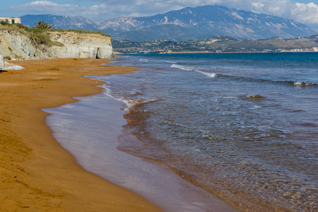 cefallonia: amazing panorama of Xi Beach,beach with red sand in Kefalonia, Ionian islands, Greece Stock Photo