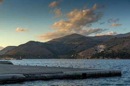 cefallonia: Sunset over Ainos Mountain from Argostoli town,  Kefalonia, Ionian islands, Greece