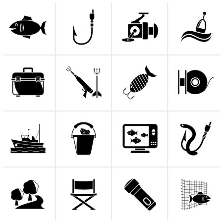 fishing vessel: Black Fishing industry icons - vector icon set Illustration