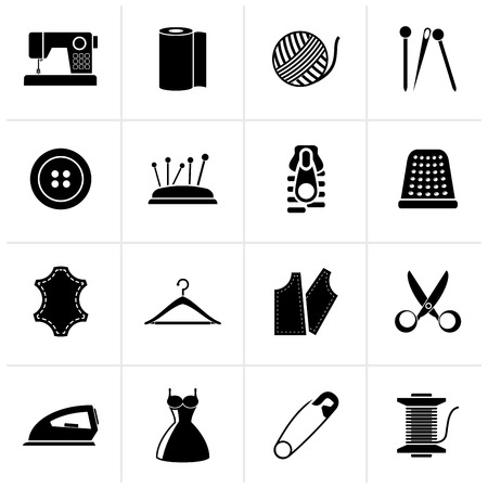 objects equipment: Black sewing equipment and objects icons - vector icon set