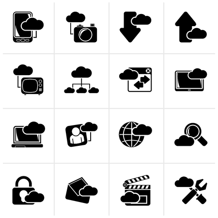 cloud icon: Black cloud services and objects icons - vector icon set