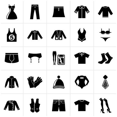 Black Clothing and Fashion collection icons - vector icon set