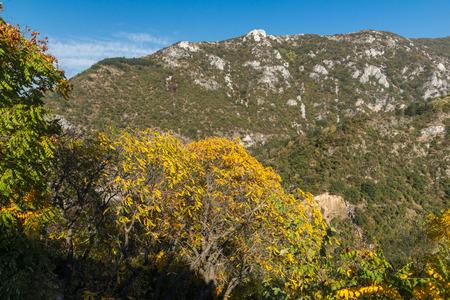 Autumn view of Anathema hill in Rhodopes Mountain from Asens Fortress, Asenovgrad, Plovdiv Region, Bulgaria Stock Photo
