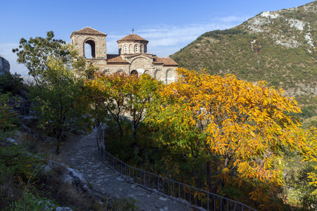 Autumn landscape of Church of the Holy Mother of God in Asens Fortress, Asenovgrad, Plovdiv Region, Bulgaria Stock Photo