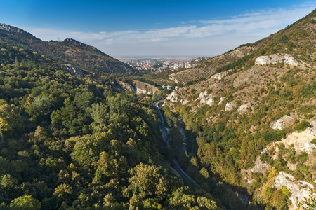 assen: Amazing panorama of town of Asenovgrad from Asens Fortress,  Plovdiv Region, Bulgaria