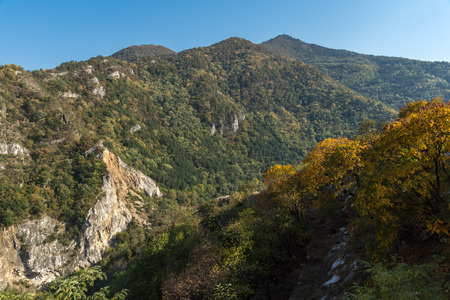 assen: Autumn Landscape to  Rhodopes mountain from Asens Fortress,  Plovdiv Region, Bulgaria
