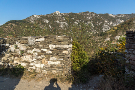 balkan peninsula: Landscape to  Rhodopes mountain and ruins from Asens Fortress,  Plovdiv Region, Bulgaria