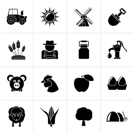 menu land: Black Agriculture and farming icons - vector icon set