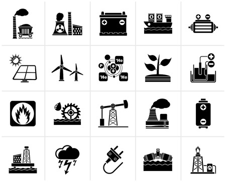 thermal power plant: Black Electricity and Energy source icons - vector icon set Illustration