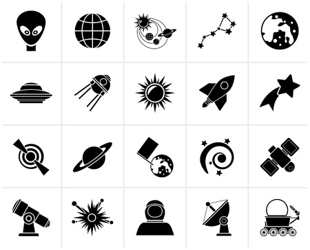 ursa minor: Black astronomy and space icons  - vector icon set