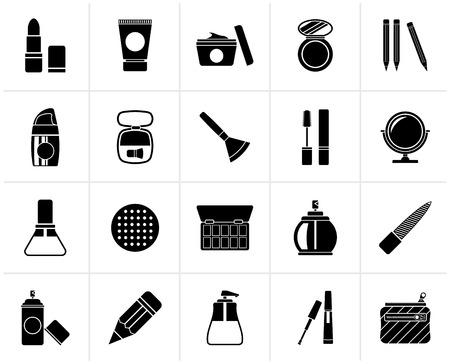 eyeshadow: Black Make-up and cosmetics icons  - vector icon set
