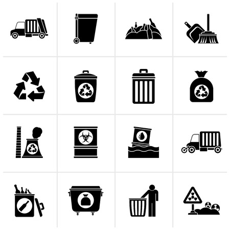 Black Garbage, cleaning and rubbish icons - vector icon set