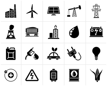 Black Power, energy and electricity Source icons - vector icon set